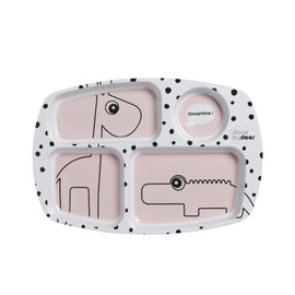 Done by Deer - Compartment plate, Happy dots - Color: Blue, Pink, Grey