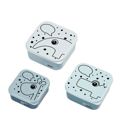 Done by Deer - Snack box set, 3 pcs, Contour - Color: Blue, Grey, Powder