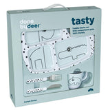 Done by Deer - Toddler dinner set, Happy dots, blue