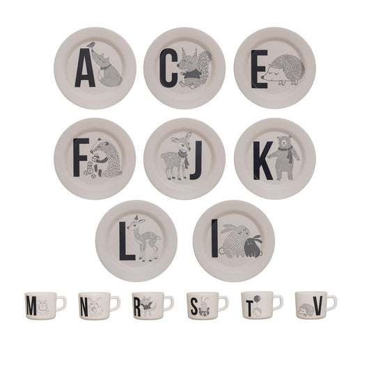 Bloomingville - Mini Alphabet Letters Bamboo Cup and Plate - Available 14 variation: ( A, C, E, F, I, J, K, L, M, N, R, S, T, V)