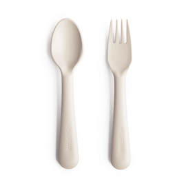 Mushie - Fork and Spoon - Ivory