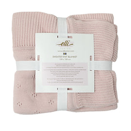 Huge Knitted Blanket in Organic Cotton, Pink