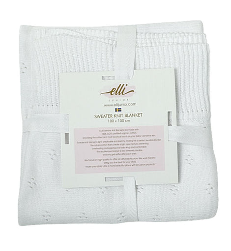 Huge Knitted Blanket in Organic Cotton, White