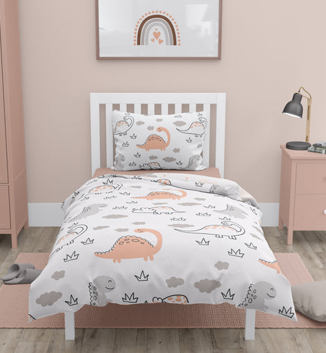 100% Organic Double Sided Duvet Cover Set Dino/Cloud (full size bed)