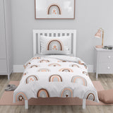 100% Organic Double Sided Duvet Cover Set Rainbow/Circles (full size bed)