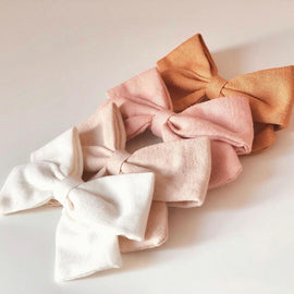 Petite Bohème - Organic Linen Bows - Available Colours: White/Pink/Cream/Rust