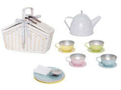 Picnic basket tin tea set Pastal