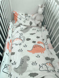 100% Organic Double Sided Duvet Cover Set Dino/Cloud (toddler/crib size bed)