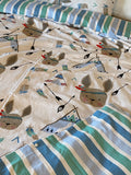100% Organic Double Sided Duvet Cover Set Camp/Stripes (toddler/crib size)