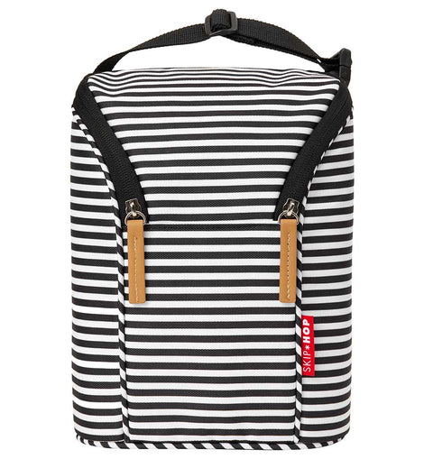 Skip Hop - Grab & Go Double Bottle Bag - Black/White Stripes