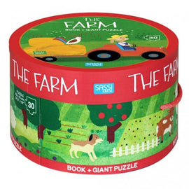 Book And Giant Puzzle Round Box - The Farm