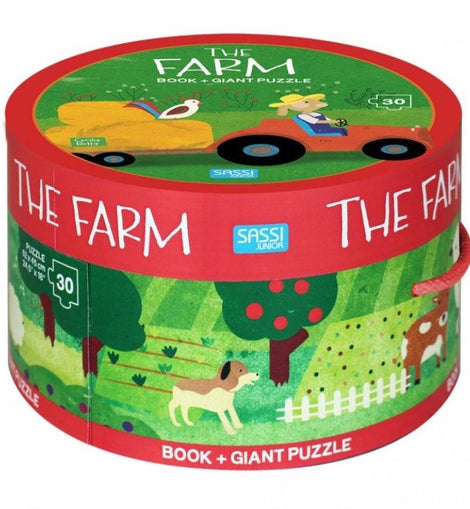 Sassi - Book And Giant Puzzle Round Box - The Farm