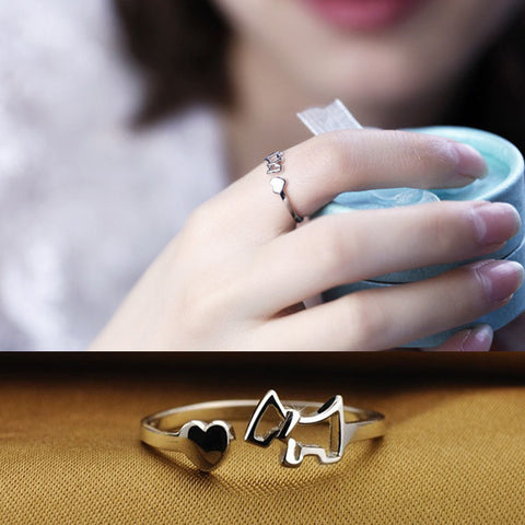 Cute Puppy Ring Silver Plated