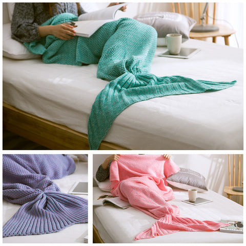 Mermaid Tail Blanket Handmade Knit Cashmere 32x70in