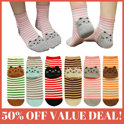 CUTE COTTON STRIPED CAT SOCKS *6 PACK BEST VALUE DEAL* - Gear Extra