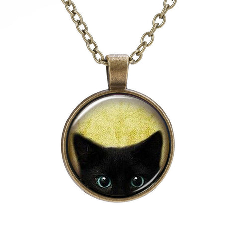Necklace Cat Glass Pendant
