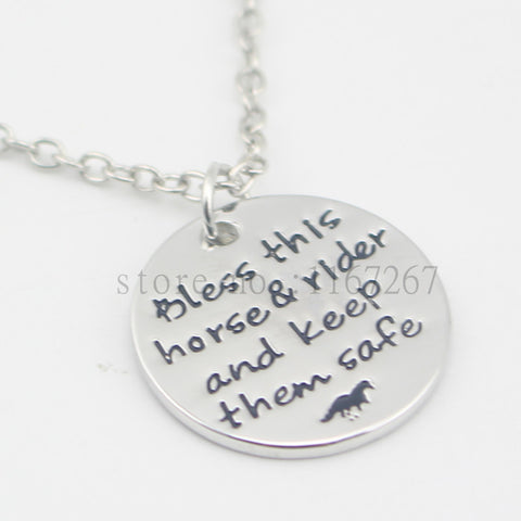 "All American Saddles Charm Necklace ""Bless this horse and rider and keep them safe""  Necklace"