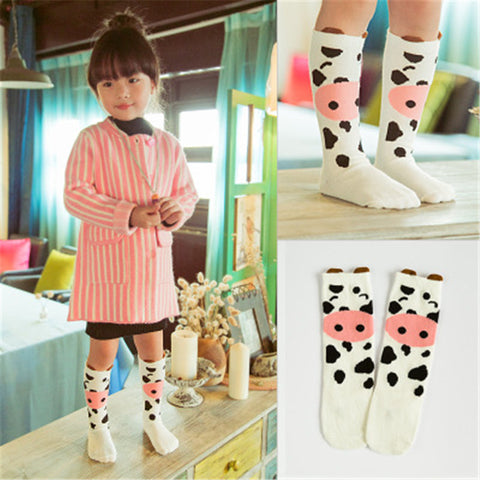 Cute Cow Clothing Kid's Socks Knee-length Baby Socks Kids Autumn Winter Leg Warmer