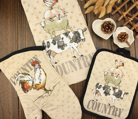 Country Kitchen Towel, Oven Mitt, & Potholder (Limited Supply)