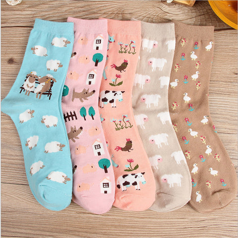 Women Barn Yard Cotton Socks -  Animals, Sheep, Wolf, Cow, Ducks