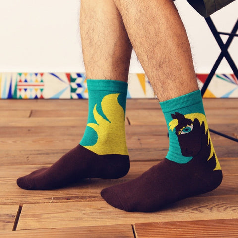 New One Pair Cotton Fashion Socks Fun Circus Horse Pattern