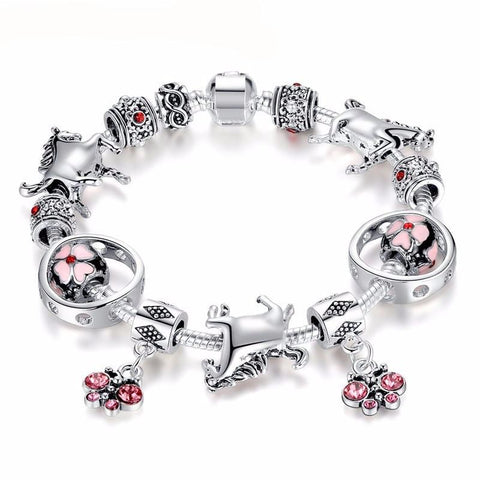 Cherry Blossom Beads Silver Horse Charm Bracelet (LIMITED SUPPLY)