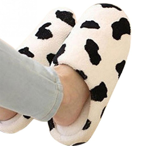 Women Anti-slip Soft Winter Warm Cotton Cow House Indoor Slippers