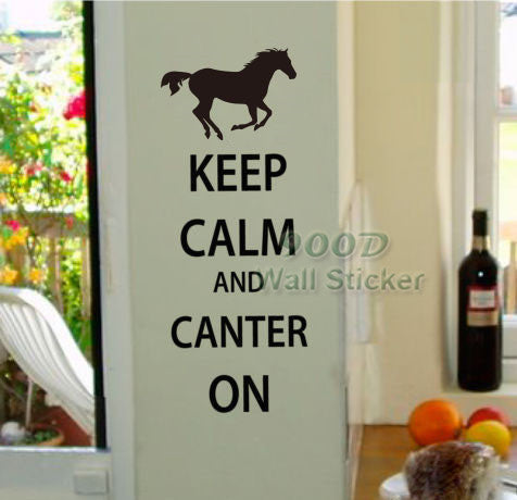 """Keep Calm and Canter On"" vinyl wall decal"