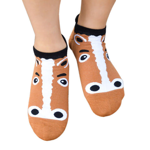Artistic Designed Horse Sheep Mouse Leopard & Fox Animal Cartoon Cotton Short Ankle Socks
