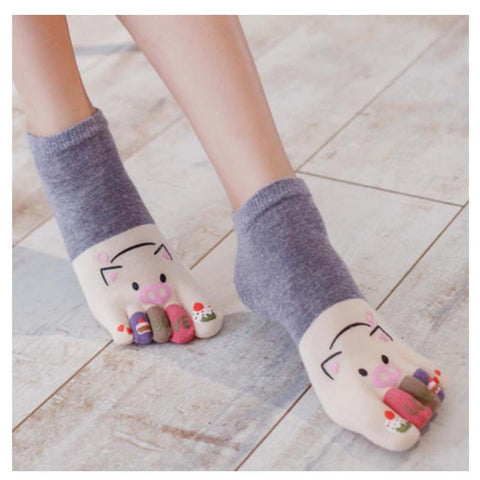 Sweet Little Five TOE Pig Socks Cotton