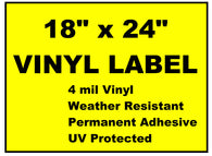 "Vinyl Labels - 18"" x 24"" (2 Colors)"