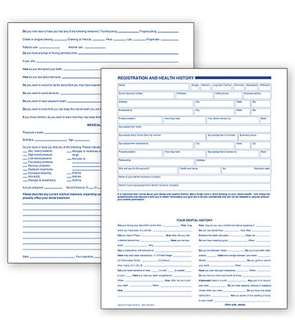 Adult Registration And Health History Form - Two-Sided, Card File F