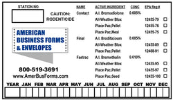"Bait Station Labels - 3"" x 5"" (Horizontal) Template #02"