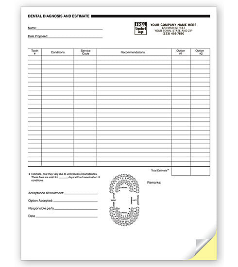 Dental Diagnosis And Estimate Forms, 2 Part