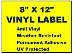 "Vinyl Labels - 8"" x 12"" (2 Colors)"