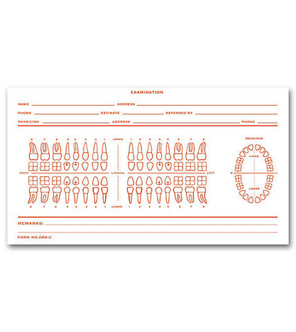 Dental Record Card , Numbered Teeth System C