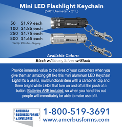 Mini LED Flashlight Keychain- with Your Logo and Phone/Website