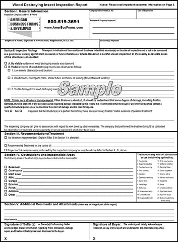 Form NPMA 33 (Printed on Back)