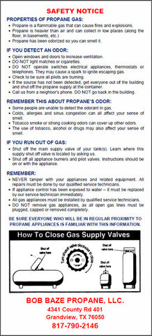 Propane Safety Notice