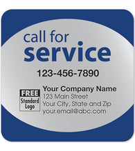 "Service Labels - ""Call for Service"" - Silver Poly Top"