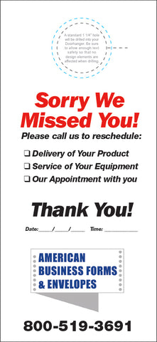 Fuel Door Hanger - Full Color - Template #02 - Sorry We Missed You