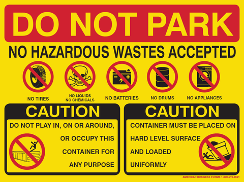 Waste Quad Caution Sticker- 9 x 12 inches