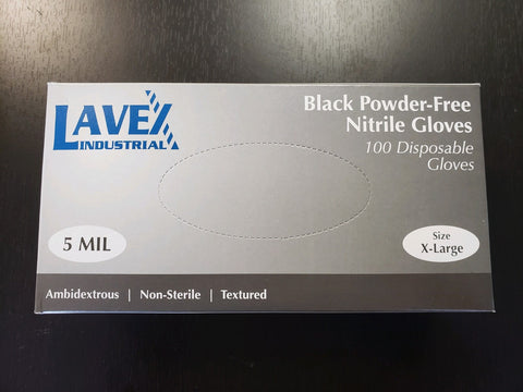 Gloves - Nitrile Exam Gloves- Powder Free- Black - 100 in a box- 5 mil X-large