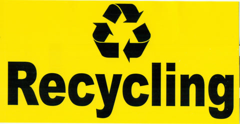 YELLOW RECYCLING STICKER 7.38in X 3.75IN