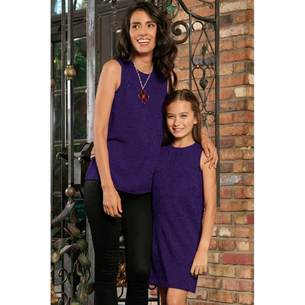 Purple Floral Sleeveless Dressy Party Fancy Mother Daughter Outfit