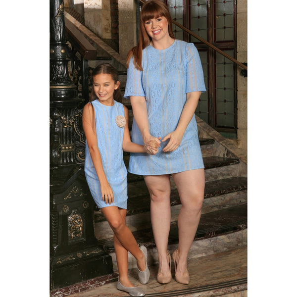 Baby Blue Crochet Lace Trendy Mother Daughter Shift Dress Plus Size