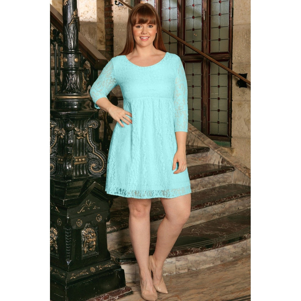 Mint Blue Lace Empire Sleeved Summer Party Sexy Curvy Dress Plus Size