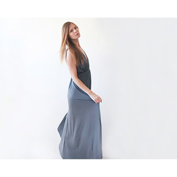 Grey sleeveless maxi dress 1003