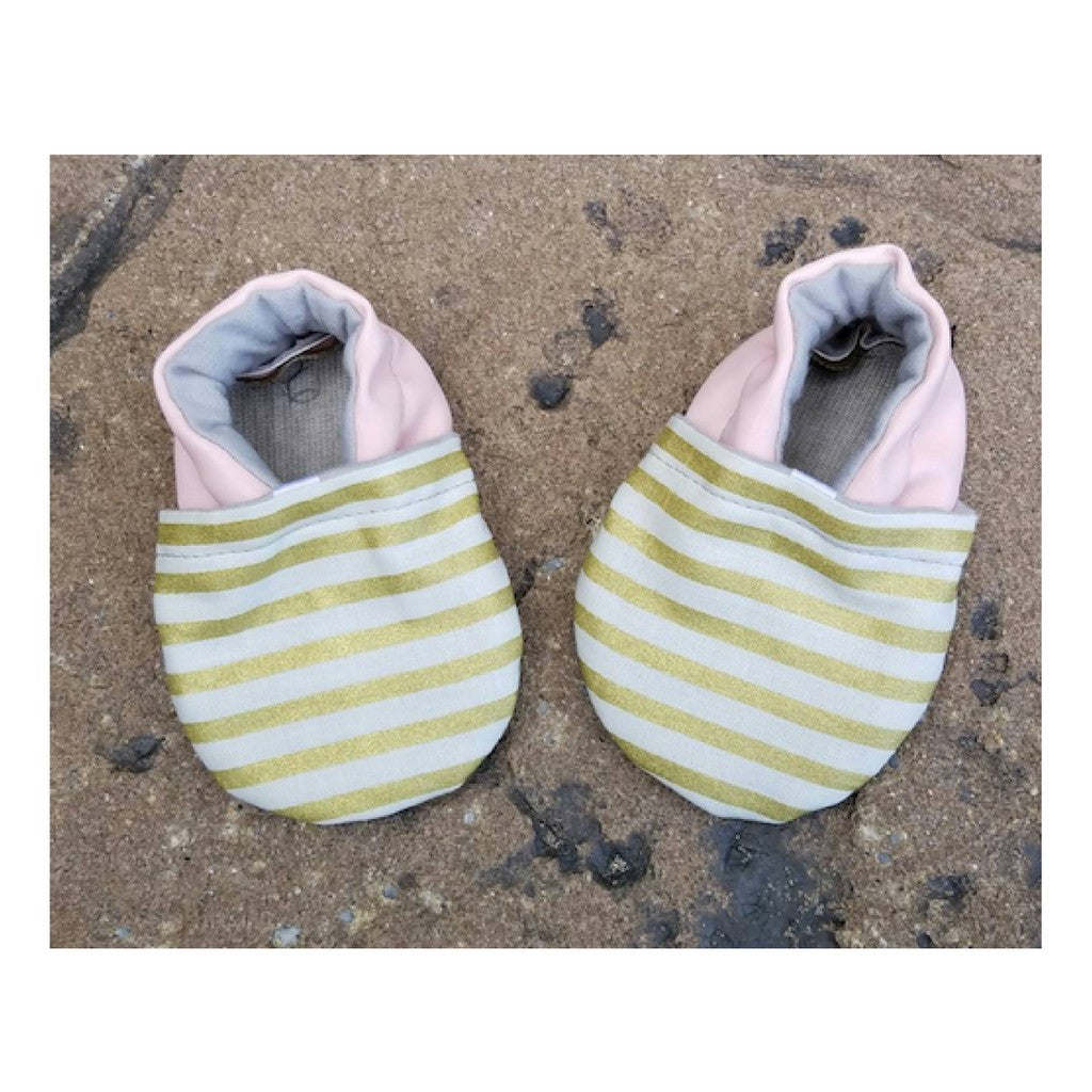 Striped Gold and Pink Baby Girl Shoes
