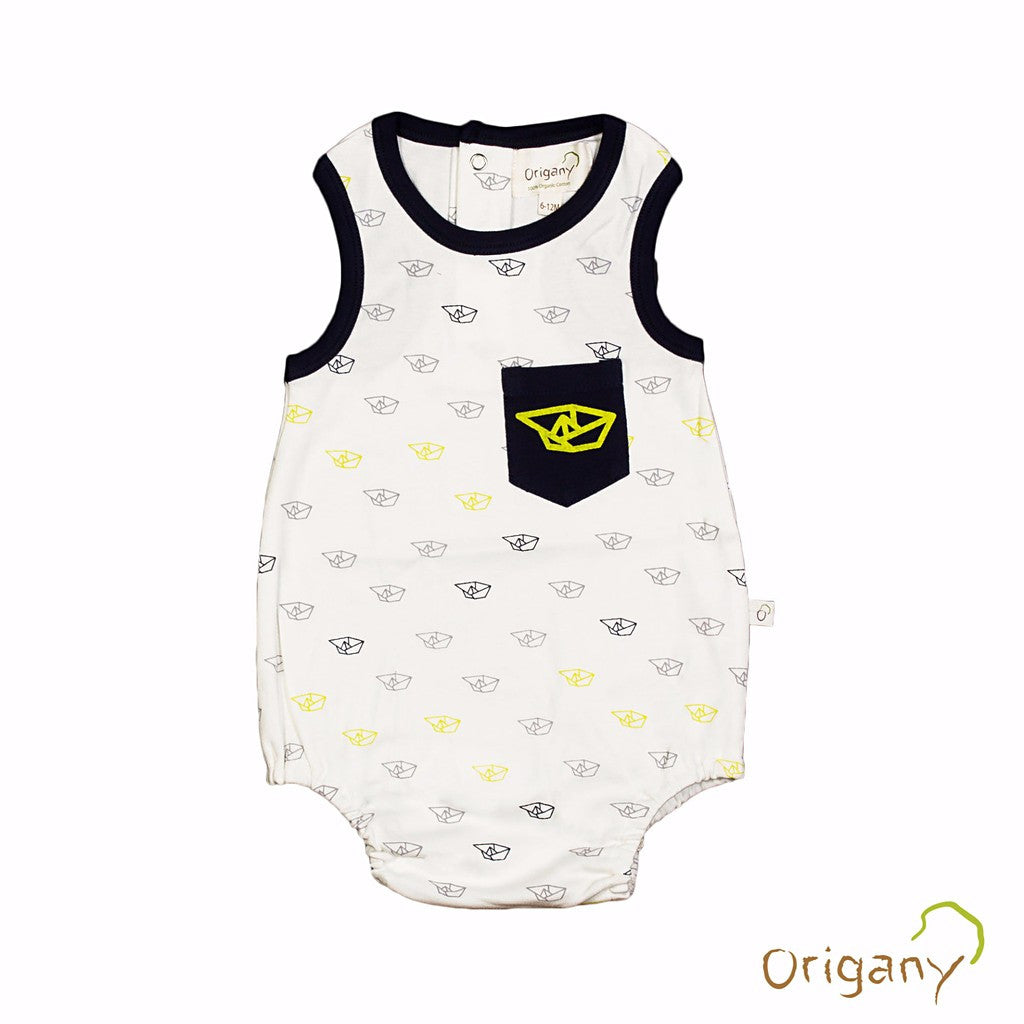 Organic Burst of Dots All Over Boat Print Baby Boy Bodysuit